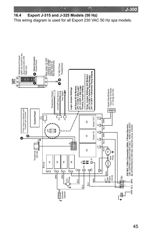 36 Volt To 12 Volt Wiring Diagram 4 Export J 315 And J 325 Models 50 Hz Jacuzzi J 315