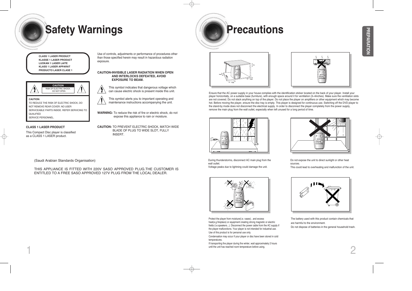 Safety warnings, Precautions, 12 safety warnings
