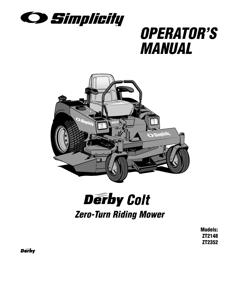 Operator's manual, Colt, Zero-turn riding mower
