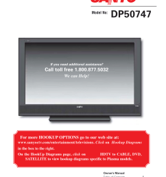 sanyo high definition digital plasma television dp50747 user manual 52 pages [ 954 x 1235 Pixel ]