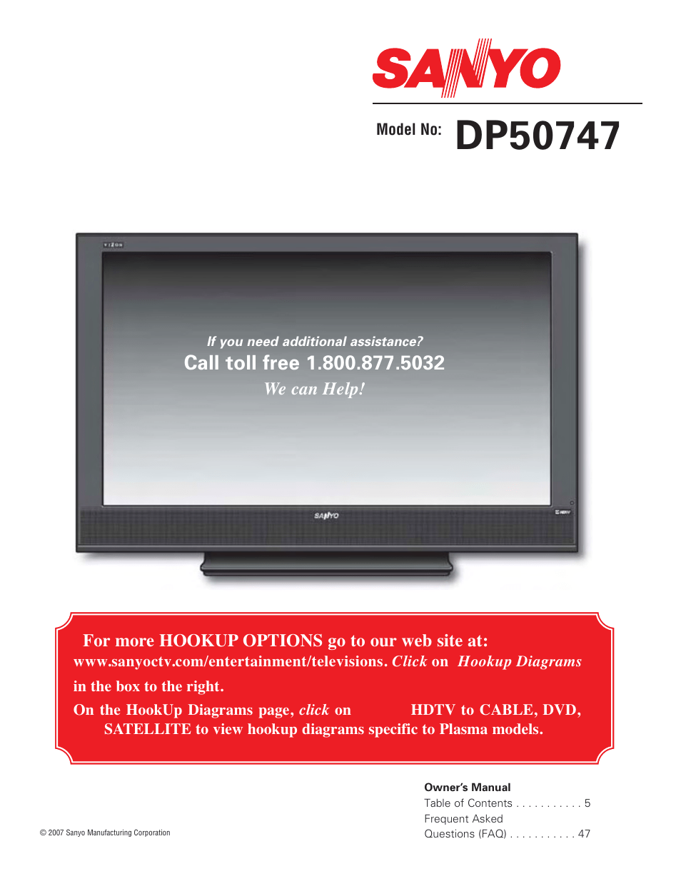 hight resolution of sanyo high definition digital plasma television dp50747 user manual 52 pages