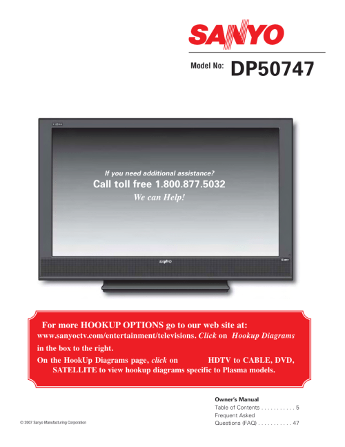 small resolution of sanyo high definition digital plasma television dp50747 user manual 52 pages