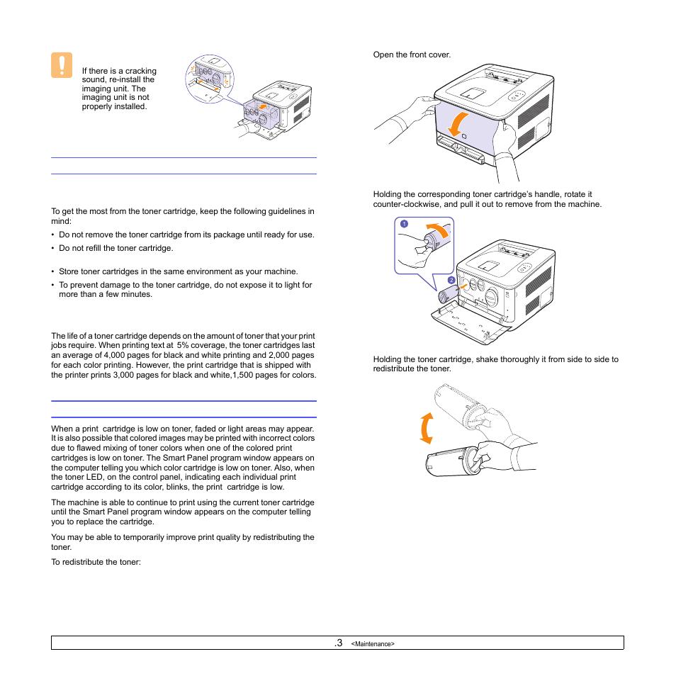 medium resolution of maintaining the cartridge toner cartridge storage expected cartridge life redistributing toner toner