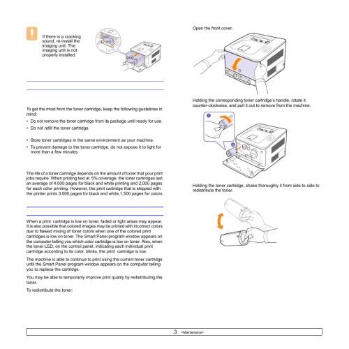 small resolution of maintaining the cartridge toner cartridge storage expected cartridge life redistributing toner toner