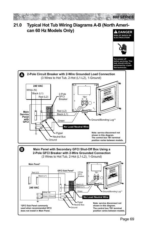 small resolution of 0 typical hot tub wiring diagrams a b north american 60 hz models only danger sundance spas altamar 880 user manual page 75 92