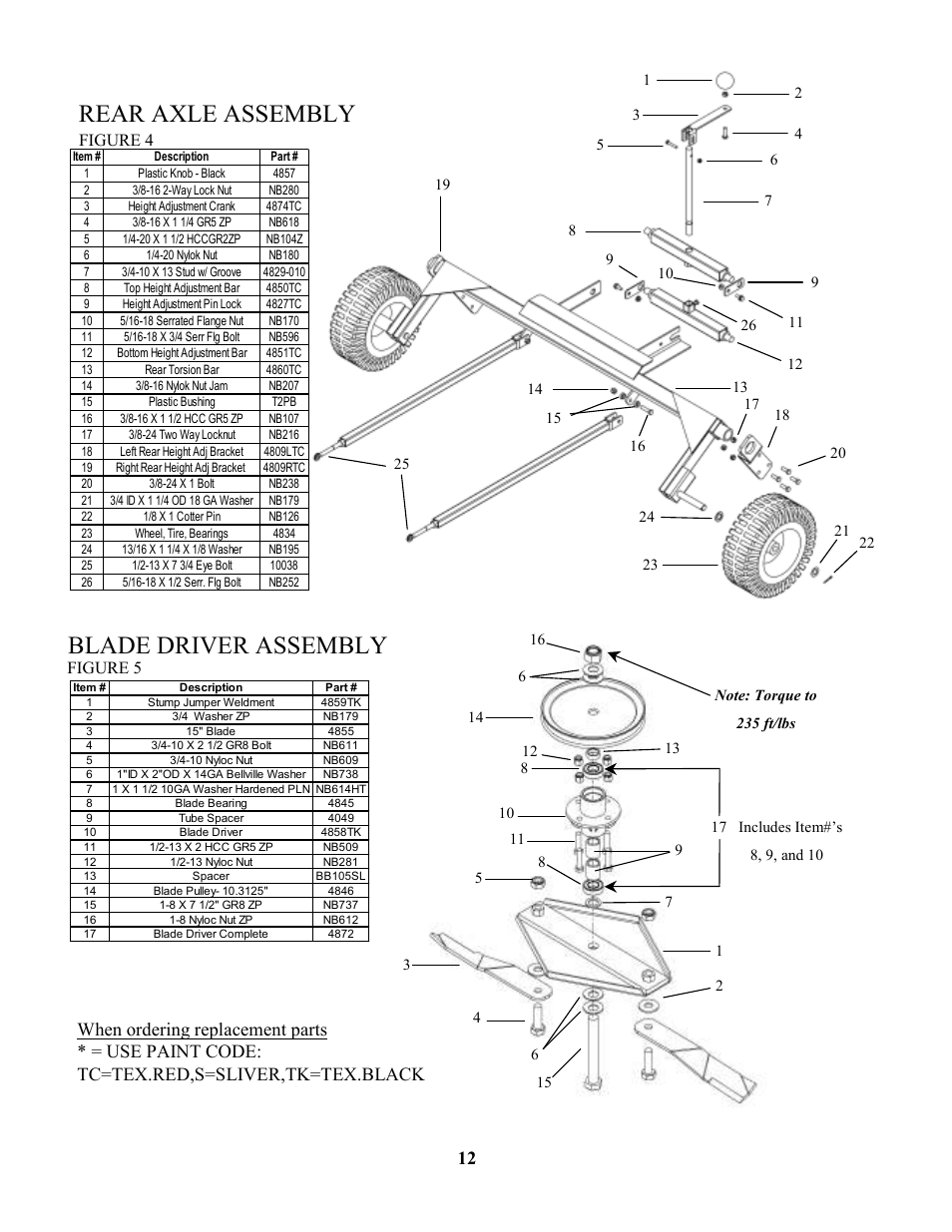 Rear axle assembly, Blade driver assembly, Figure 4