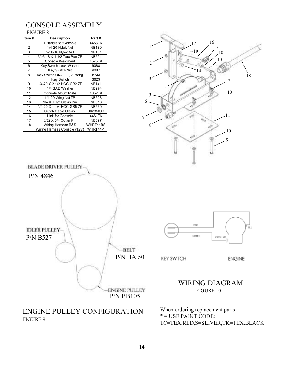 Console assembly, Wiring diagram, Engine pulley