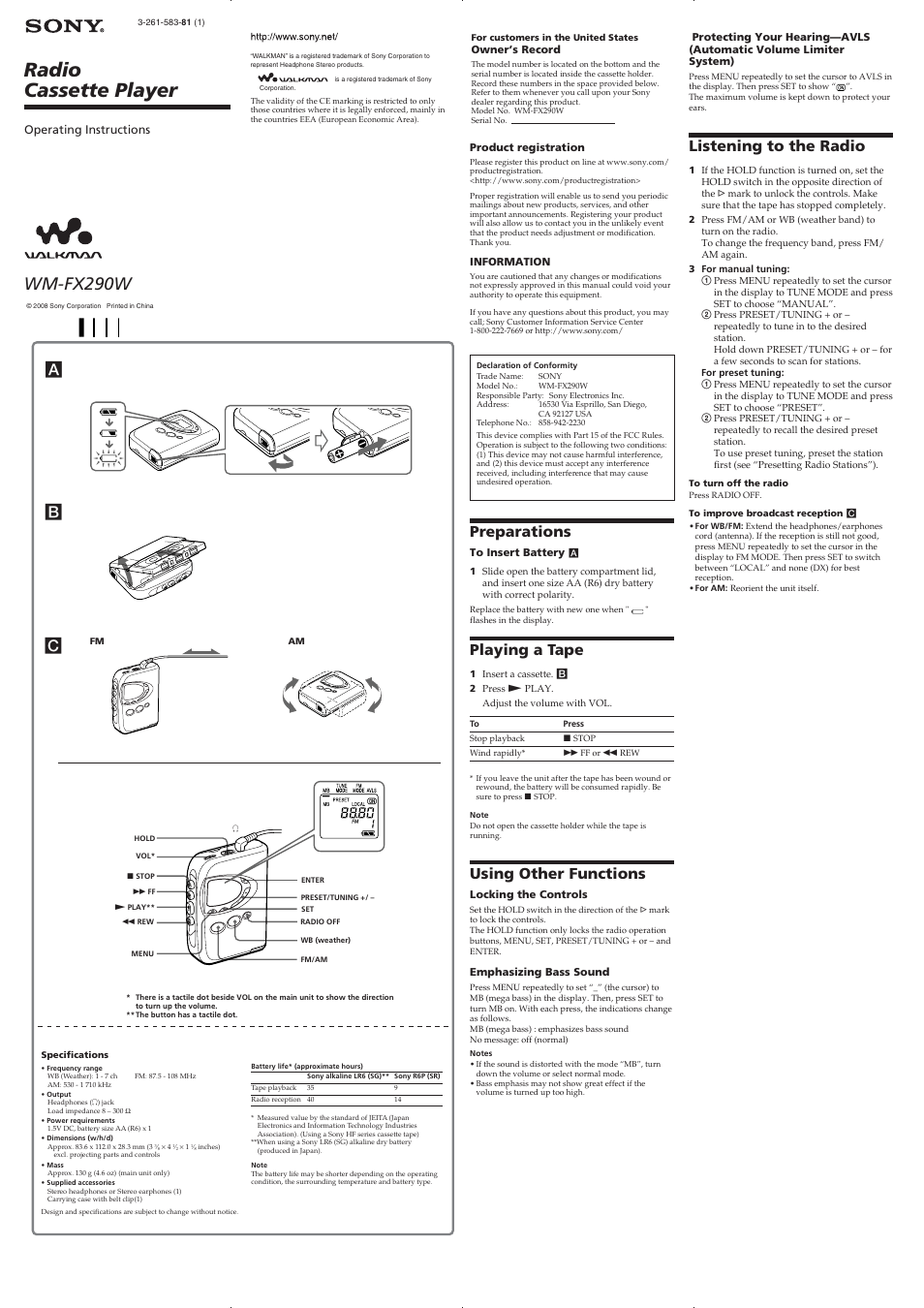 Sony Walkman Wireless Headphones Instructions