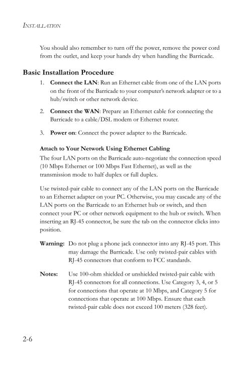 small resolution of basic installation procedure smc networks smc barricade smc7004vbr user manual page 24 122