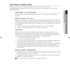 electrical connections gas models u s and canada electric models u s only samsung dv219agw user manual page 13 68 [ 954 x 1311 Pixel ]
