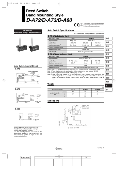 small resolution of reed switch general purpose type d a72 d a73 d a80 band mounting style smc networks reed switch solid state switches user manual page 7 27
