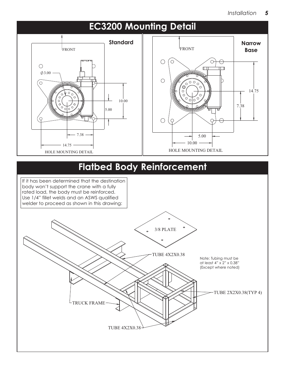 Flatbed body reinforcement, Ec3200 mounting detail
