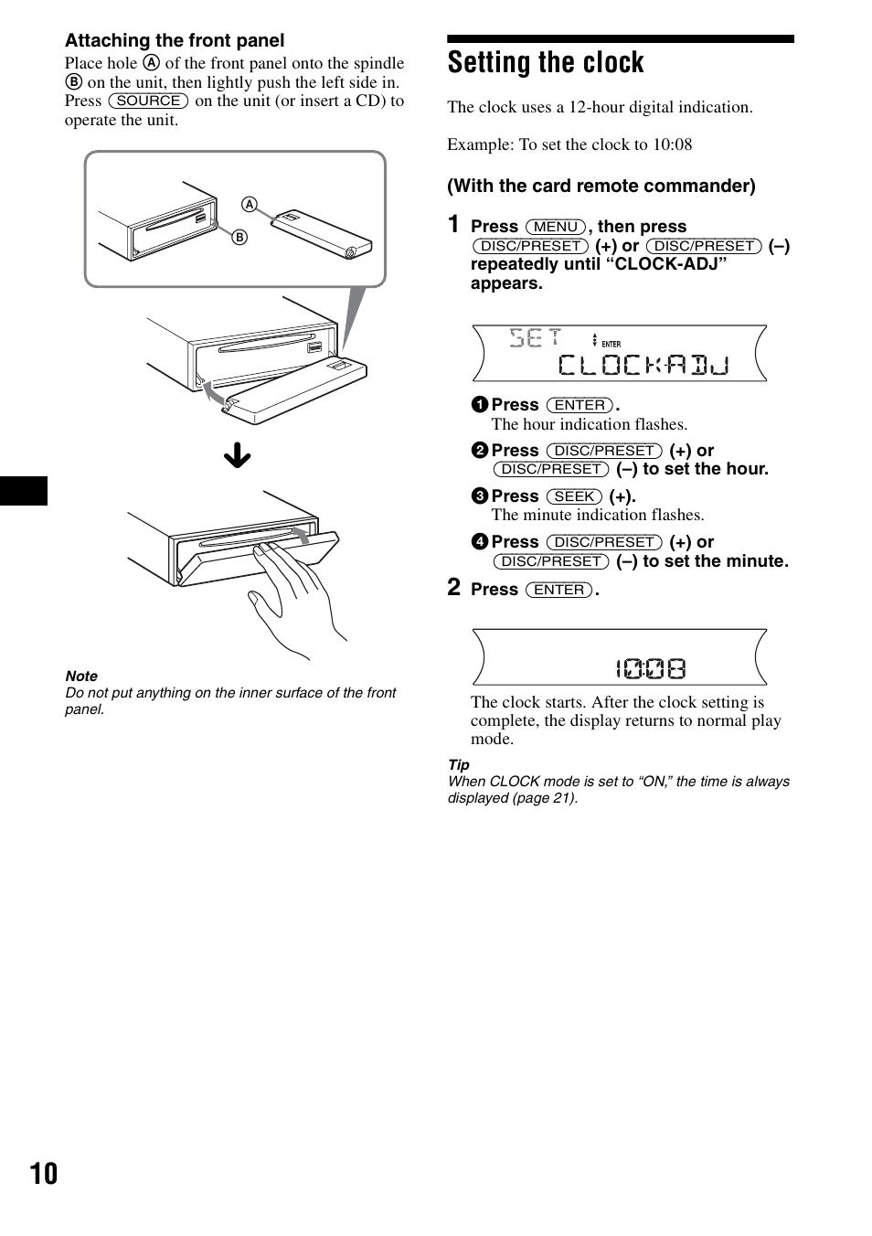 medium resolution of setting the clock sony cdx f5700 user manual page 10 92sony cdx f5700 wiring diagram