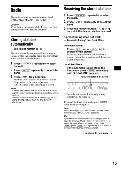 small resolution of radio storing stations automatically best tuning memory btm sony cdx f5500 user manual page 15 84