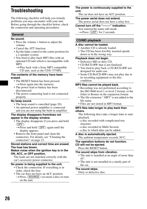 small resolution of troubleshooting 26 troubleshooting sony cdx f5500 user manual page 26 84