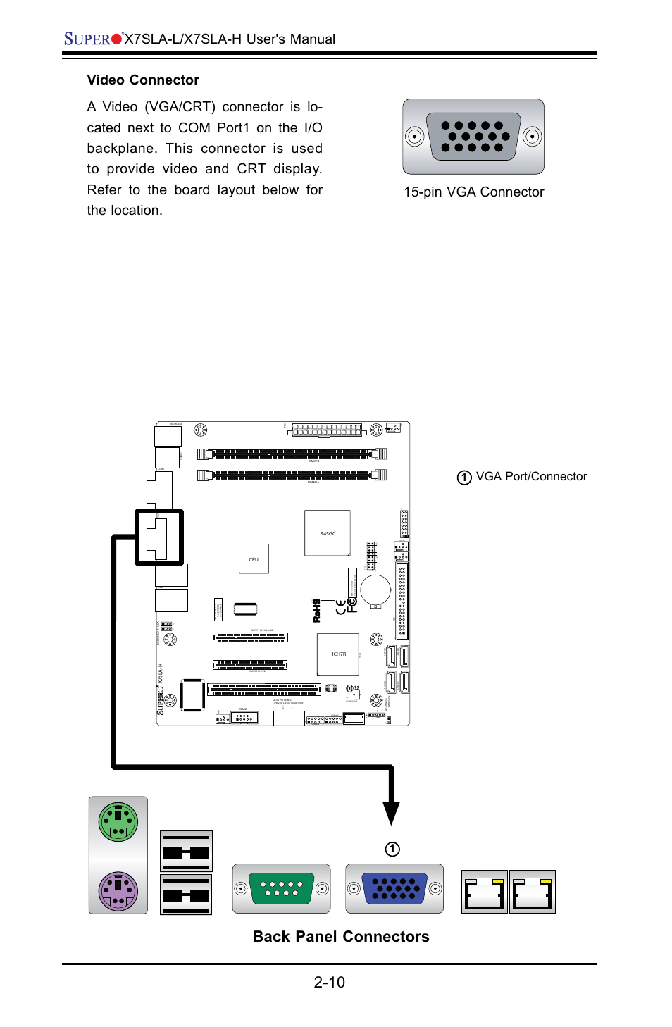 medium resolution of back panel connectors x7sla l x7sla h user s manual pin vga