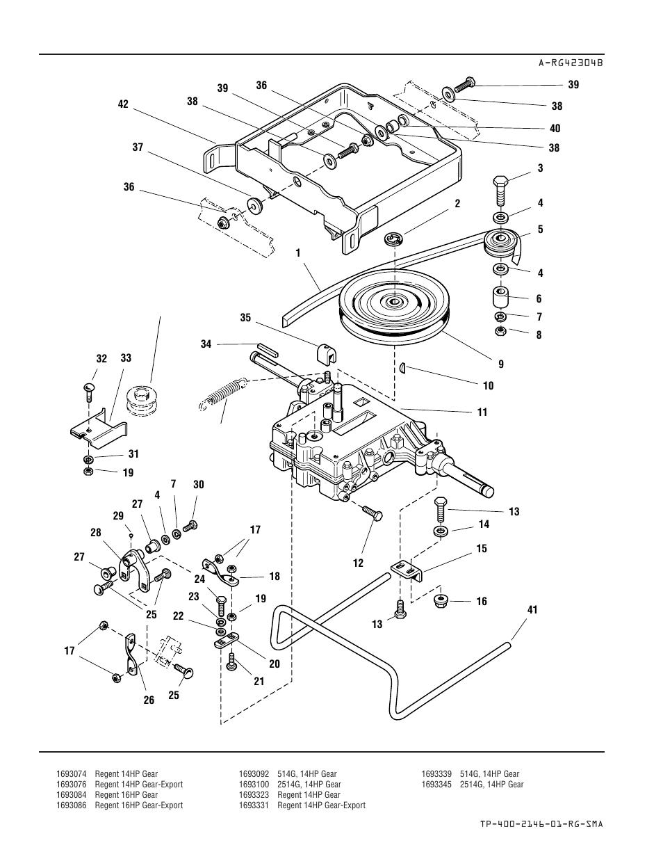 Transmission, belt, & carrier group — gear models