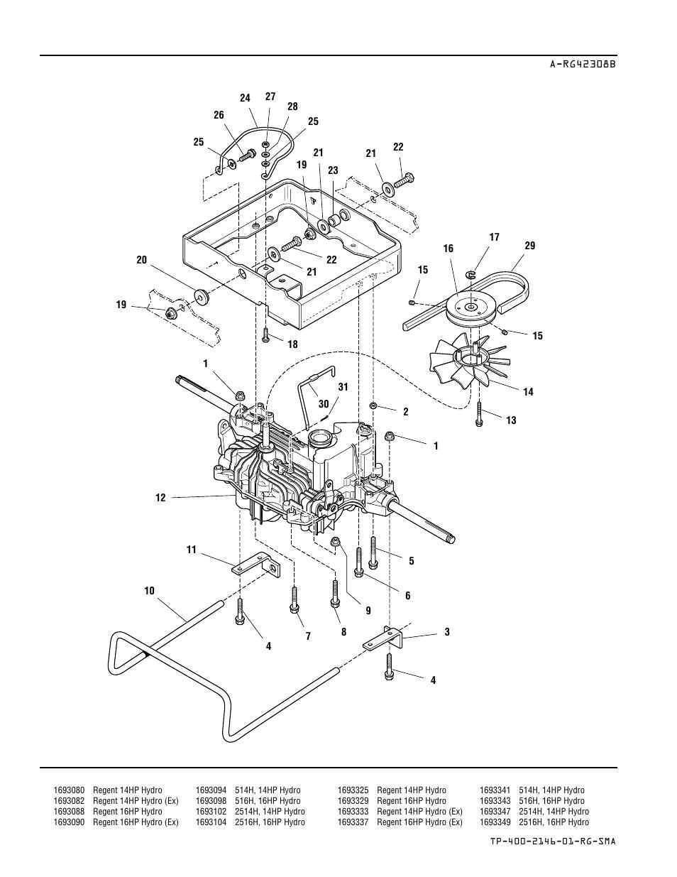Transmission, belt, & carrier group — hydro models