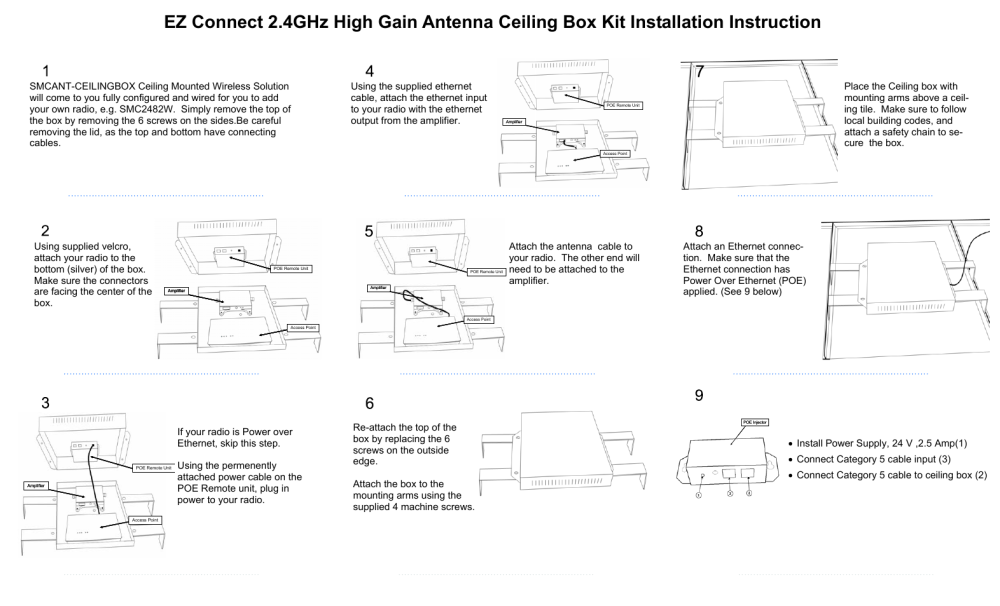 medium resolution of smc networks ez connect antenna ceiling box kit user manual page 2 2