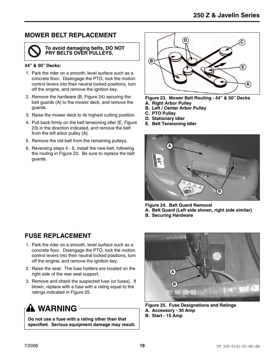medium resolution of warning 250 z javelin series mower belt replacement simplicity manufacturing rzt22500bve2 user manual page 19 20