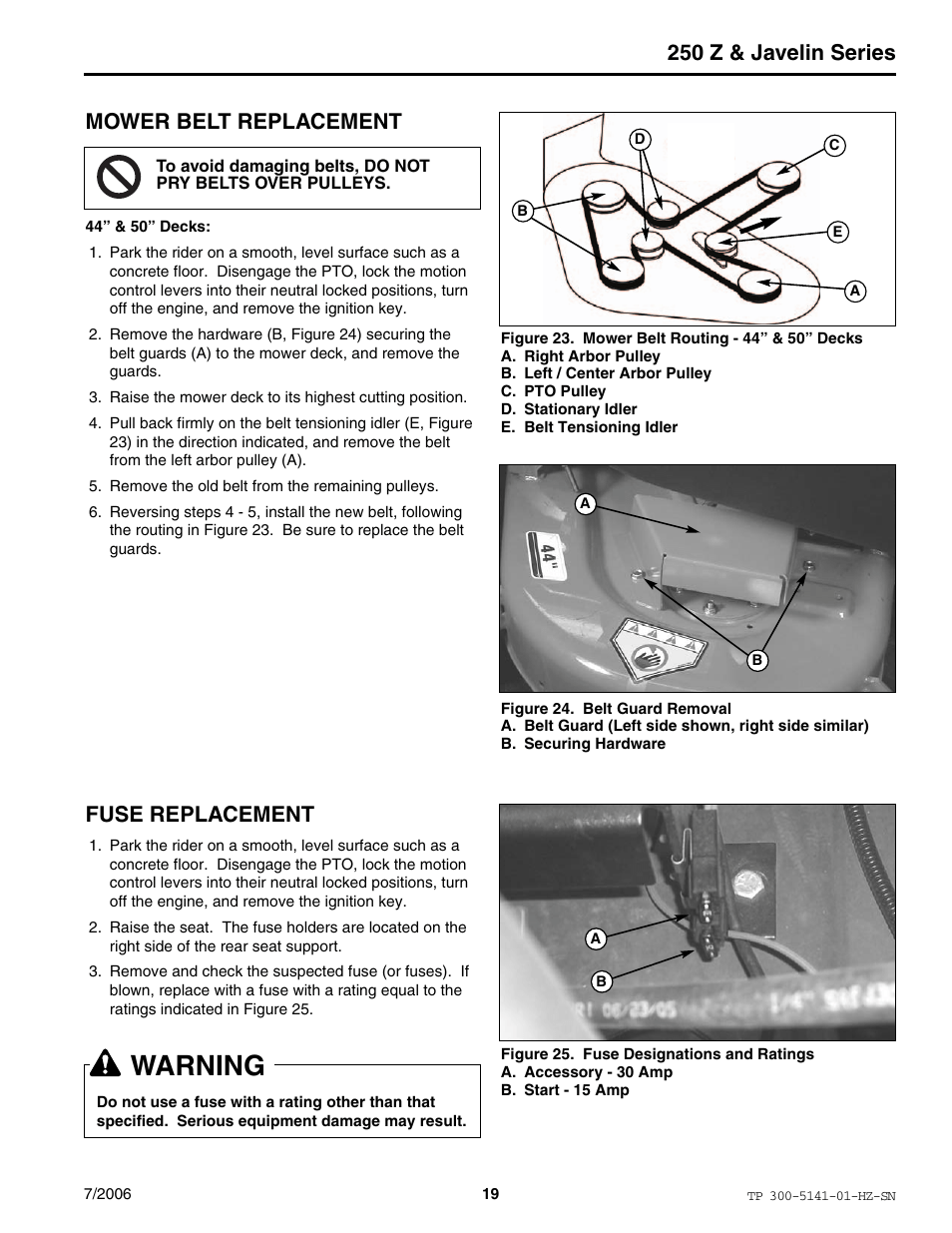 hight resolution of warning 250 z javelin series mower belt replacement simplicity manufacturing rzt22500bve2 user manual page 19 20