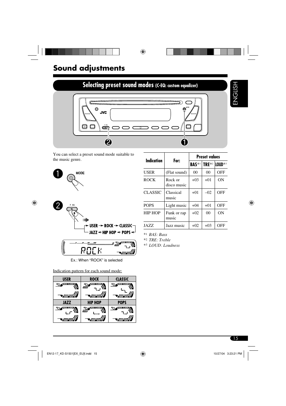Sound adjustments, Selecting preset sound modes, English