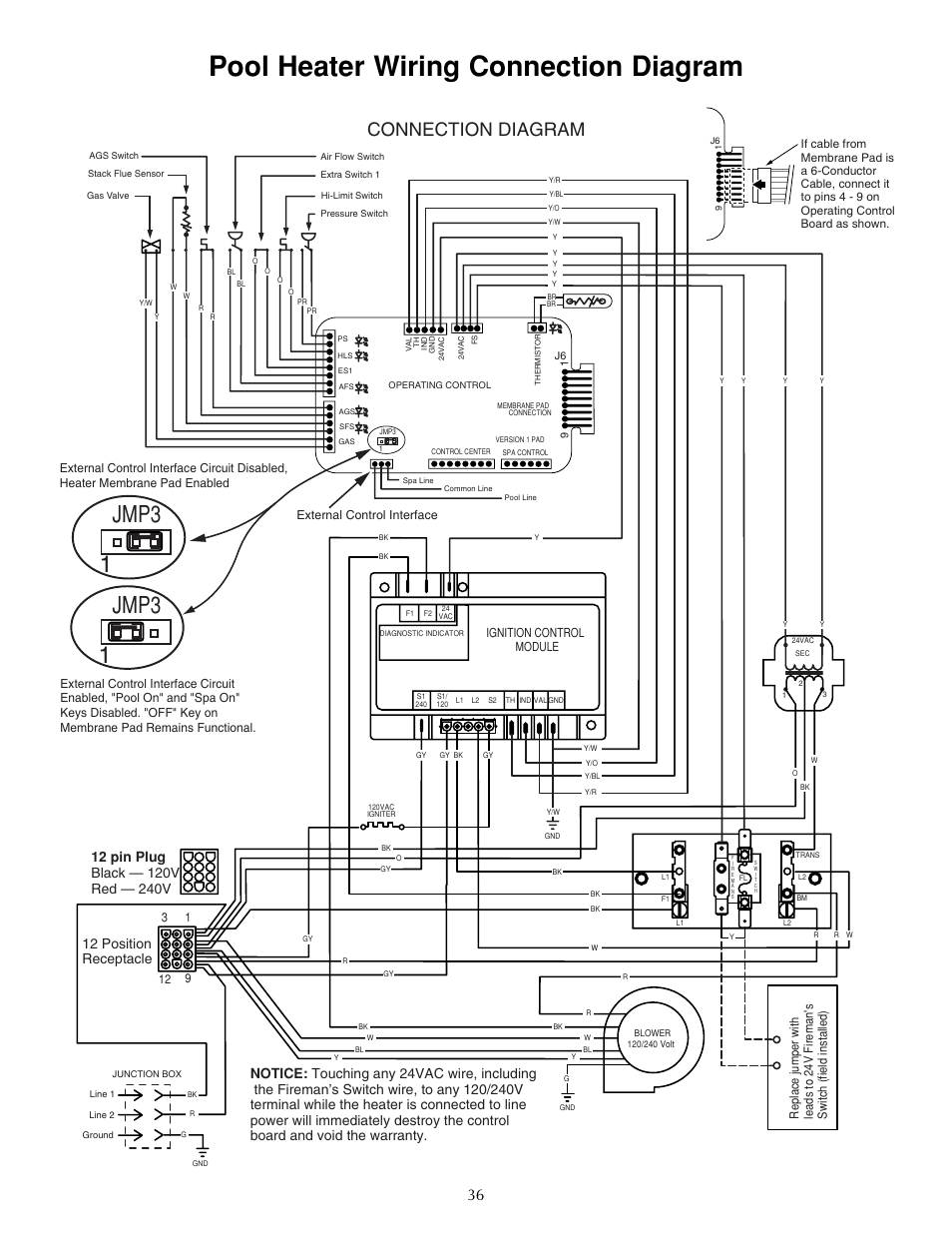 Pool heater wiring connection diagram, Jmp3 1 jmp3 1