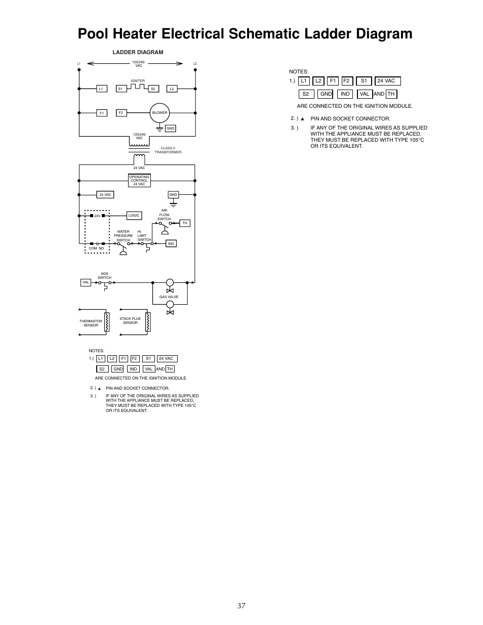 medium resolution of pool heater electrical schematic ladder diagram sta rite sr333lp user manual page 37 38