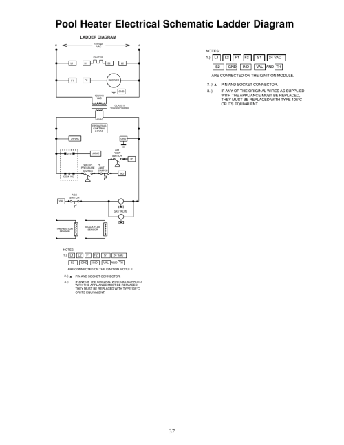 small resolution of pool heater electrical schematic ladder diagram sta rite sr333lp user manual page 37 38