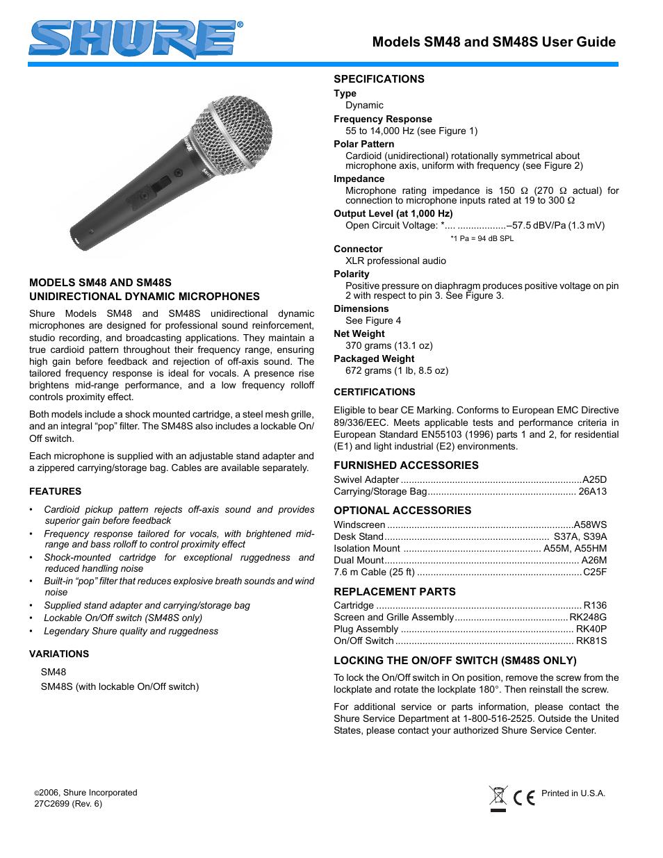 medium resolution of shure sm48 user manual