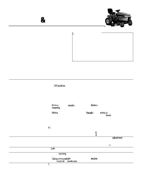 small resolution of troubleshooting adjustment service troubleshooting troubleshooting the tractor simplicity 14hp user manual page 28 50