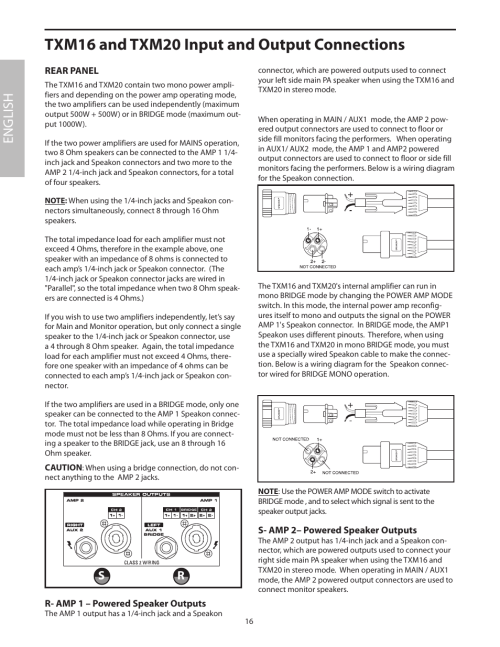 small resolution of rear panel txm16 and txm20 input and output connections english samson txm16 user manual page 20 132