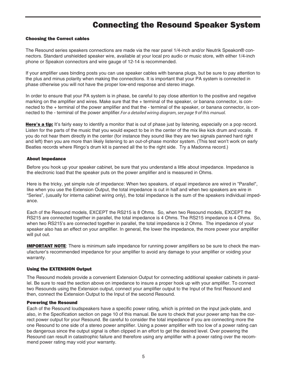 hight resolution of connecting the resound speaker system samson rs12 user manual page 7 16