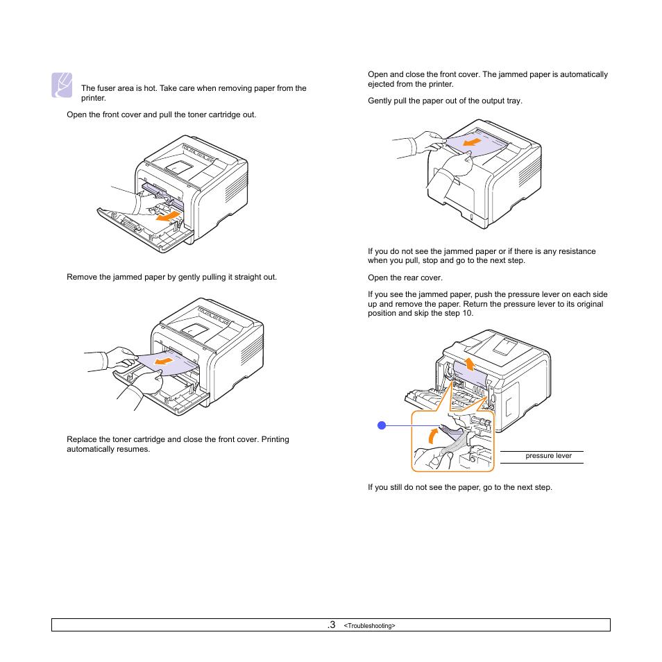 Around the toner cartridge, In the paper exit area