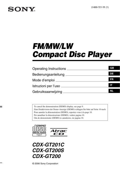 small resolution of sony cdx gt200s user manual 92 pages