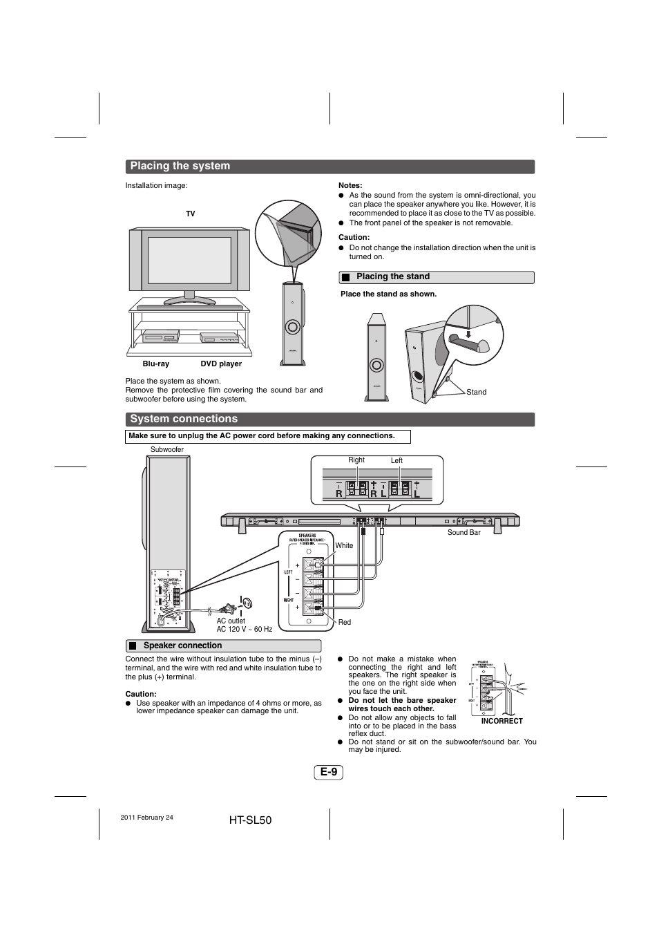 Placing the system, Placing the stand, System connections