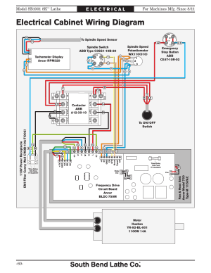 Electrical cabi wiring diagram, Lathe | Southbend