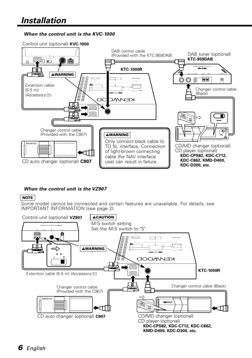 small resolution of wiring diagram kdc d300 cd player wiring library when the control unit is the kvc 1000