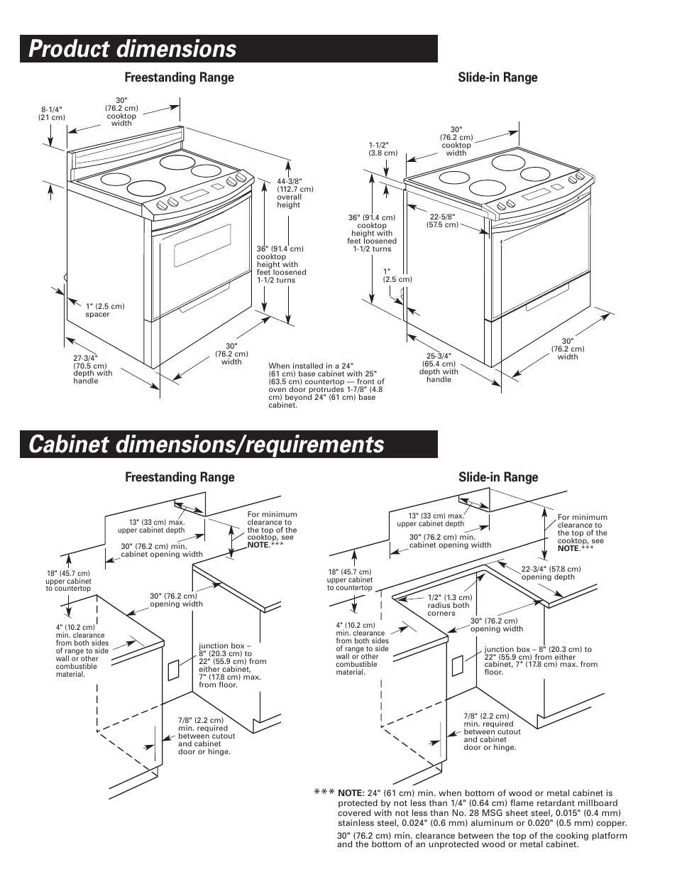 Product dimensions, Cabinet dimensions/requirements