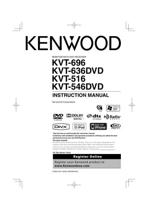 Kenwood KVT696 User Manual | 100 pages | Also for: KVT636DVD, KVT516