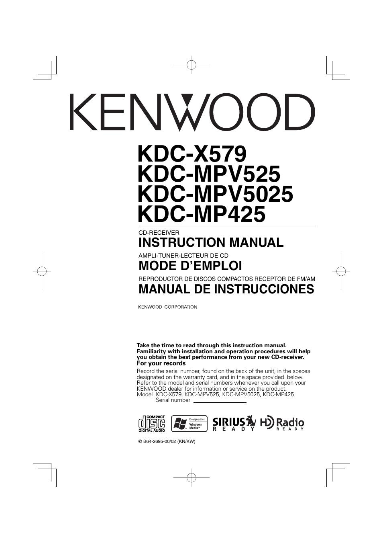 Kenwood Kdc Mp425 Wiring Diagram Radio Shack Car Stereo