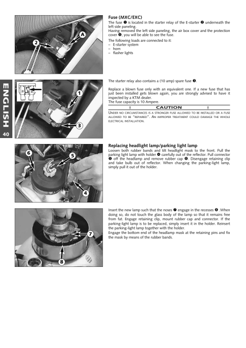 small resolution of english ktm 250 exc racing user manual page 41 62