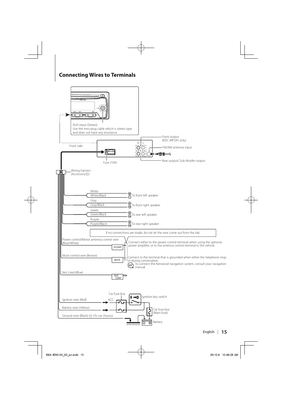 medium resolution of connecting wires to terminals kenwood kdc mp245 user manual page schematic diagram connecting wires to terminals