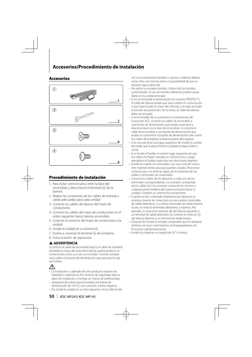 medium resolution of accesorios procedimiento de instalaci n kenwood kdc mp245 user manual page 50