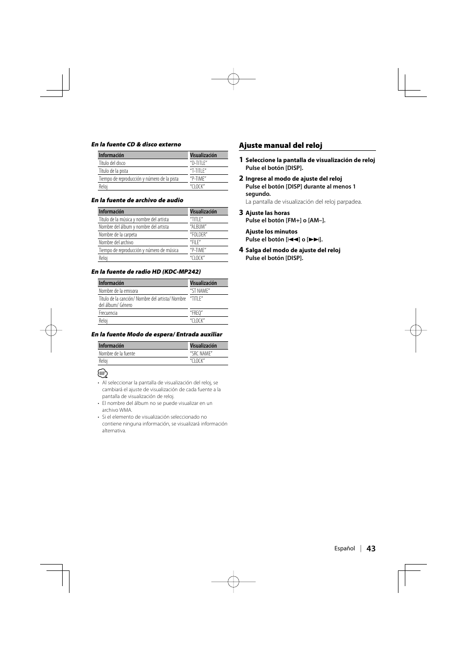 kenwood kdc mp142 wiring diagram 2 2001 dodge neon starter manual schematic ajuste del reloj 1 user page 43 148