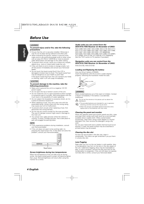 small resolution of before use 4 english english kenwood excelon ddx7015 user manual page 4