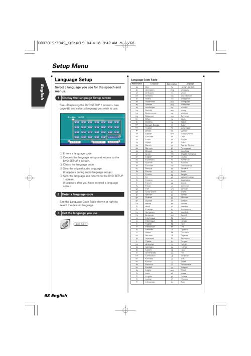 small resolution of setup menu language setup english 68 english select a language you use for