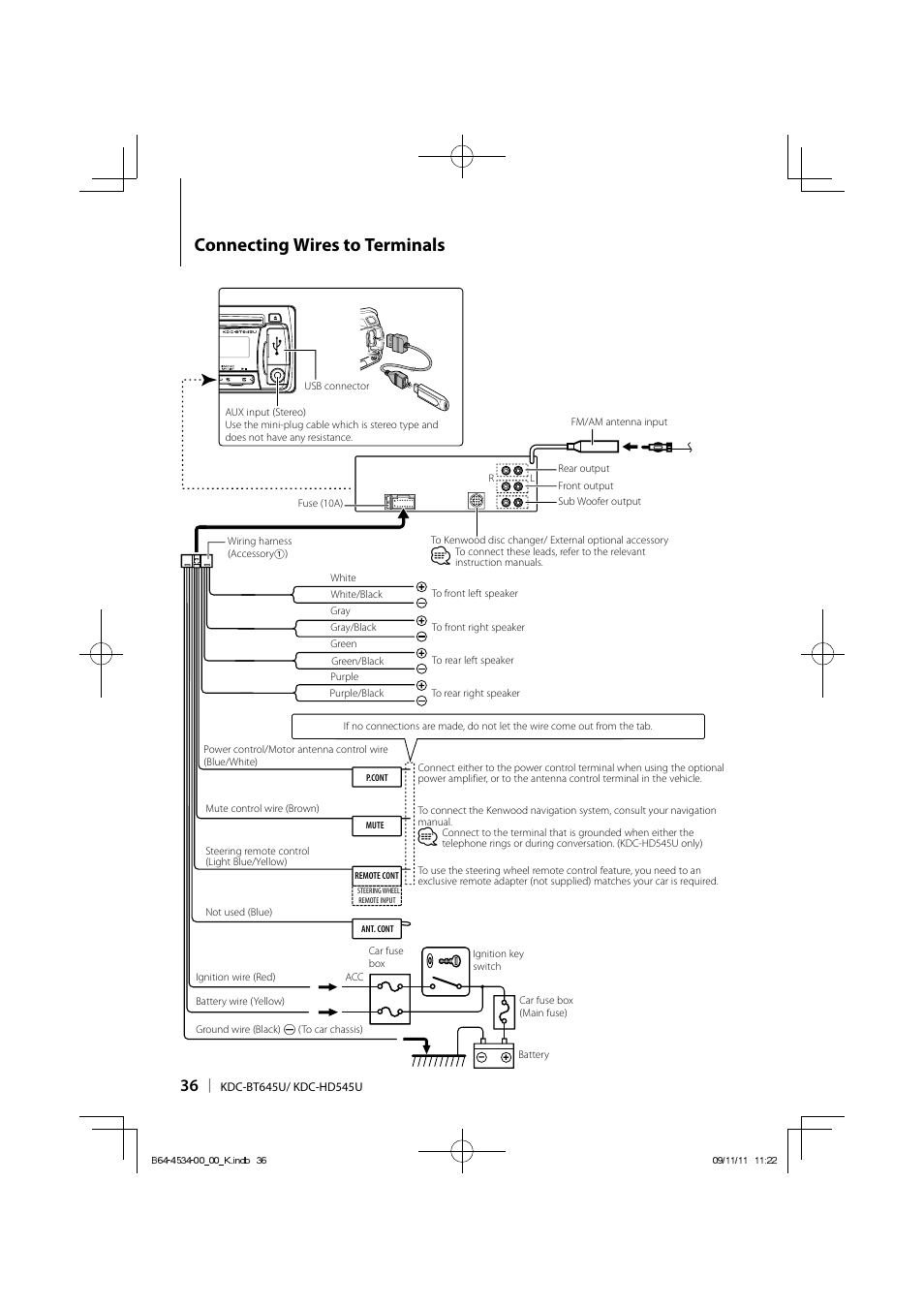 medium resolution of connecting wires to terminals kenwood kdc hd545u user manual kenwood kdc 138 wiring harness diagram kenwood kdc wiring harness diagram