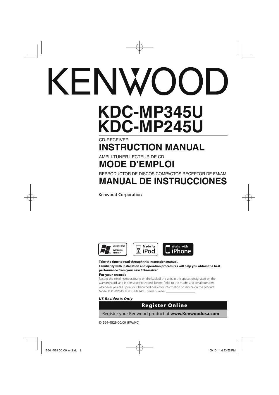 kenwood model kdc wiring diagram directv swm 32 kdc-mp345u user manual   68 pages also for: kdc-mp245u