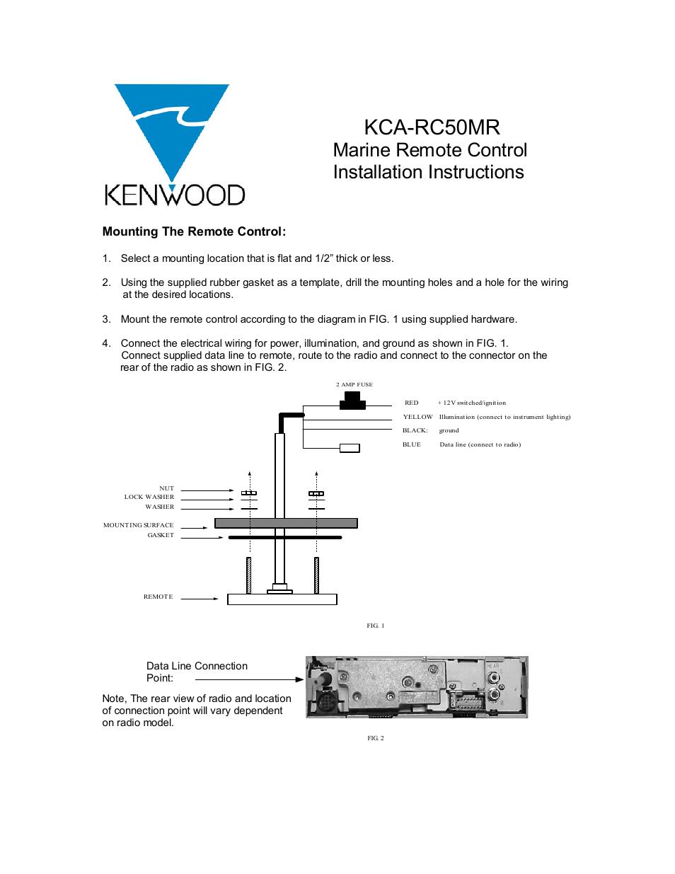Kenwood Marine Remote Control Kca Rc50mr User Manual